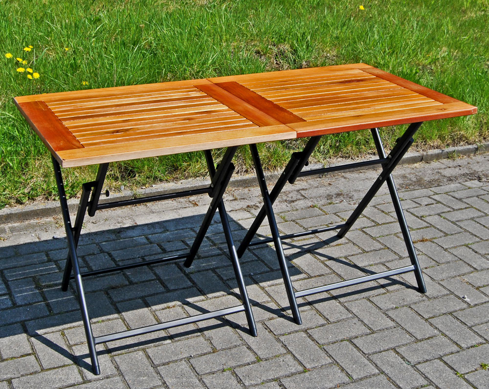 set 2x klapptisch holz alu 70x70 balkontisch gartentisch holztisch tisch ebay. Black Bedroom Furniture Sets. Home Design Ideas