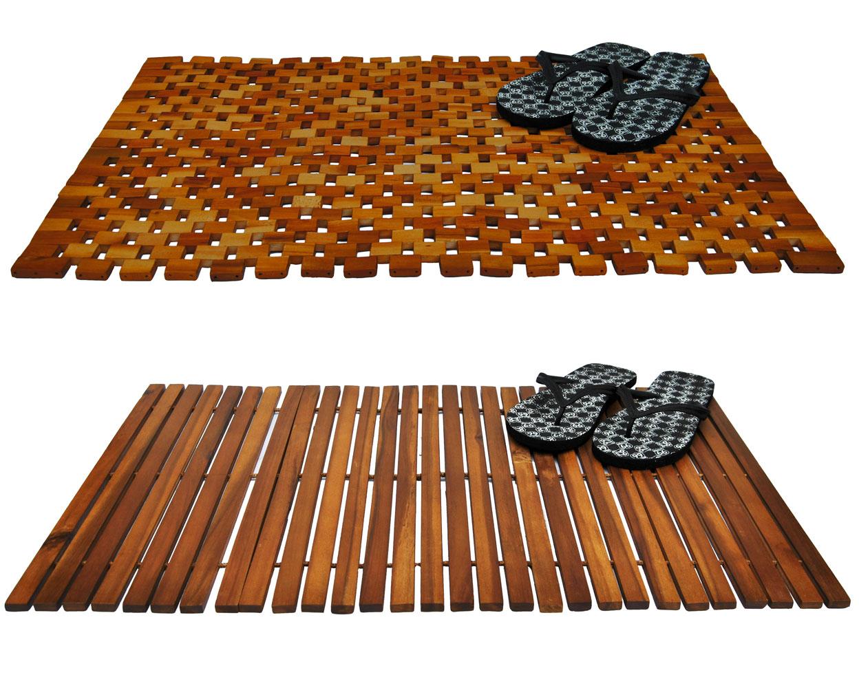 holz badematte 80x50cm holzmatte duschvorlage badvorleger vorleger holzbadematte ebay. Black Bedroom Furniture Sets. Home Design Ideas
