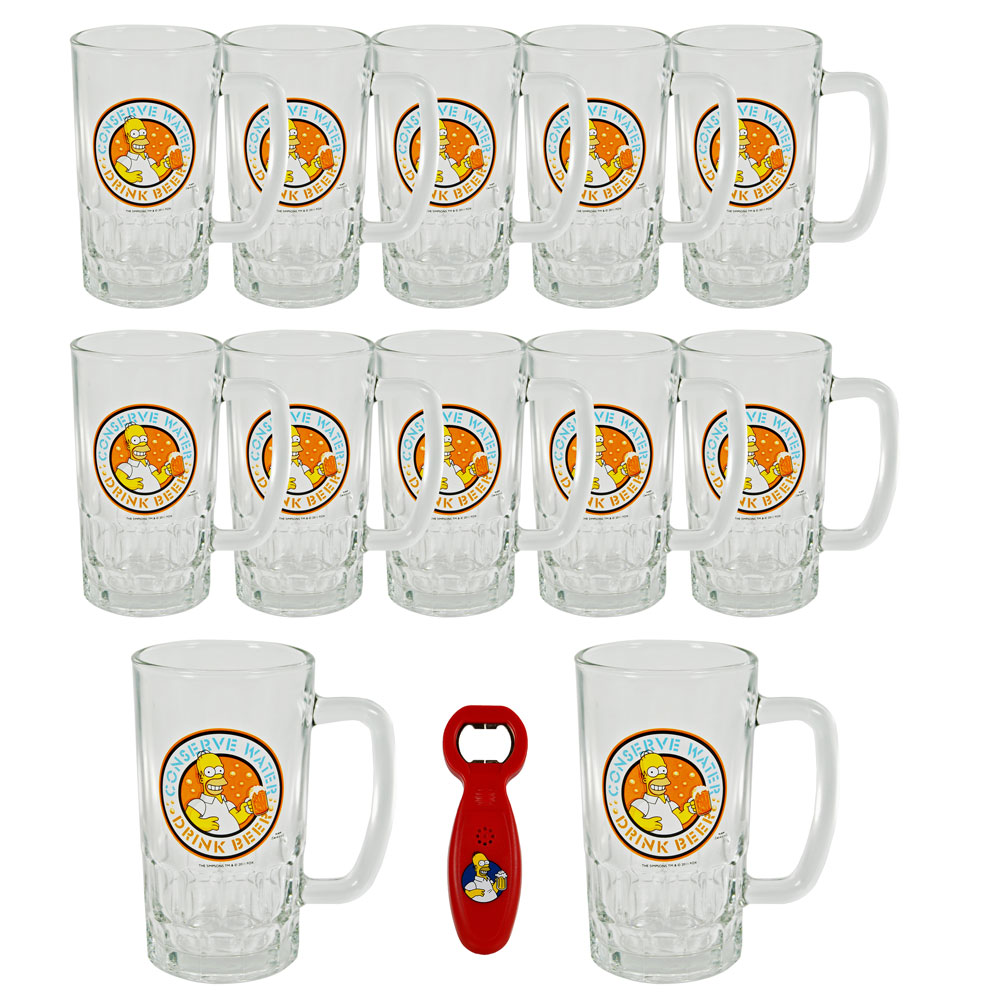simpsons bierglas 0 5l 1x flaschen ffner bier pils biergl ser henkelglas 500ml ebay. Black Bedroom Furniture Sets. Home Design Ideas