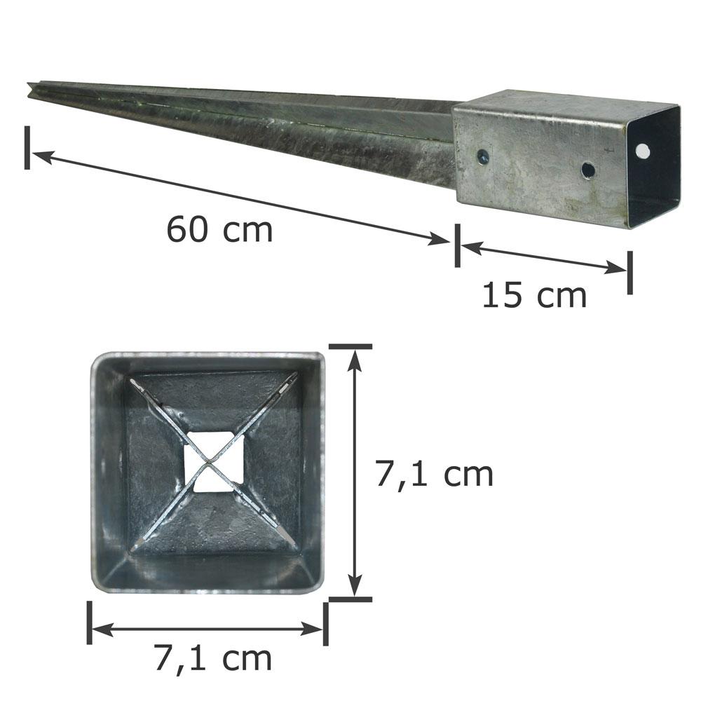 4 x Bodenhülse 71x71x750 Einschlagbodenhülse Pfostenträger Anker Pfostenhalter