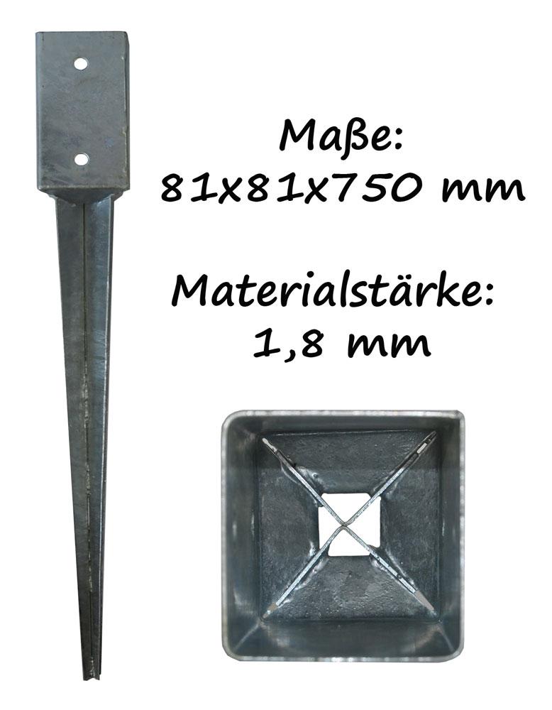 12 x Bodenhülsen 91x91 Erdanker Einschlagbodenhülse Einschlaghülse Pfostenträger