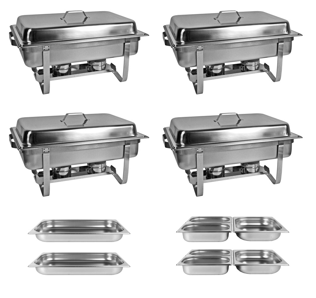 profi set 4x chafing dish 8x gn beh lter warmhaltebeh lter speisew rmer ebay. Black Bedroom Furniture Sets. Home Design Ideas