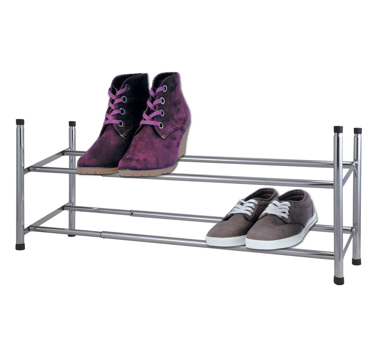 Stapelbare und ausziehbare Schuhregal bis zu 24 paar Schuhe auf 4 Ebenen