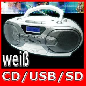 stereo radiorecorder fernbedienung cd player kassette usb sd mms weis ebay. Black Bedroom Furniture Sets. Home Design Ideas