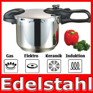 Edelstahl schnellkochtopf 6l induktion topf kochtopf ebay for Induktion topf