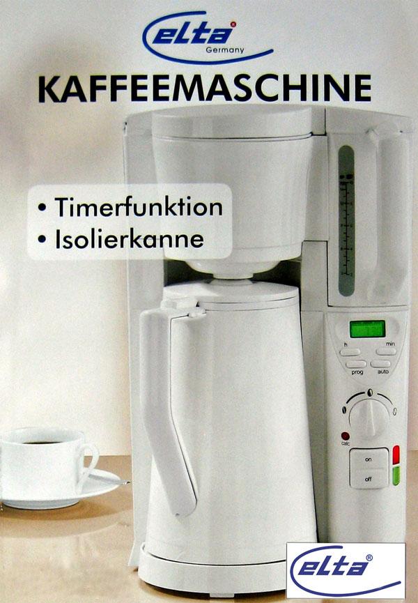 kaffeemaschine elta kh 1114 timer isolierkanne 15 tassen. Black Bedroom Furniture Sets. Home Design Ideas