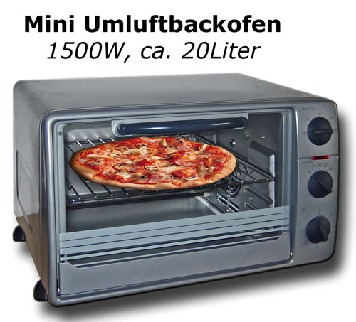 mini umluftbackofen 20l 1500w minibackofen umluft backofen grill drehspie. Black Bedroom Furniture Sets. Home Design Ideas