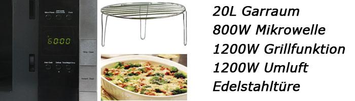 edelstahl mikrowelle mit grill umluft hei luft 20l neu ebay. Black Bedroom Furniture Sets. Home Design Ideas