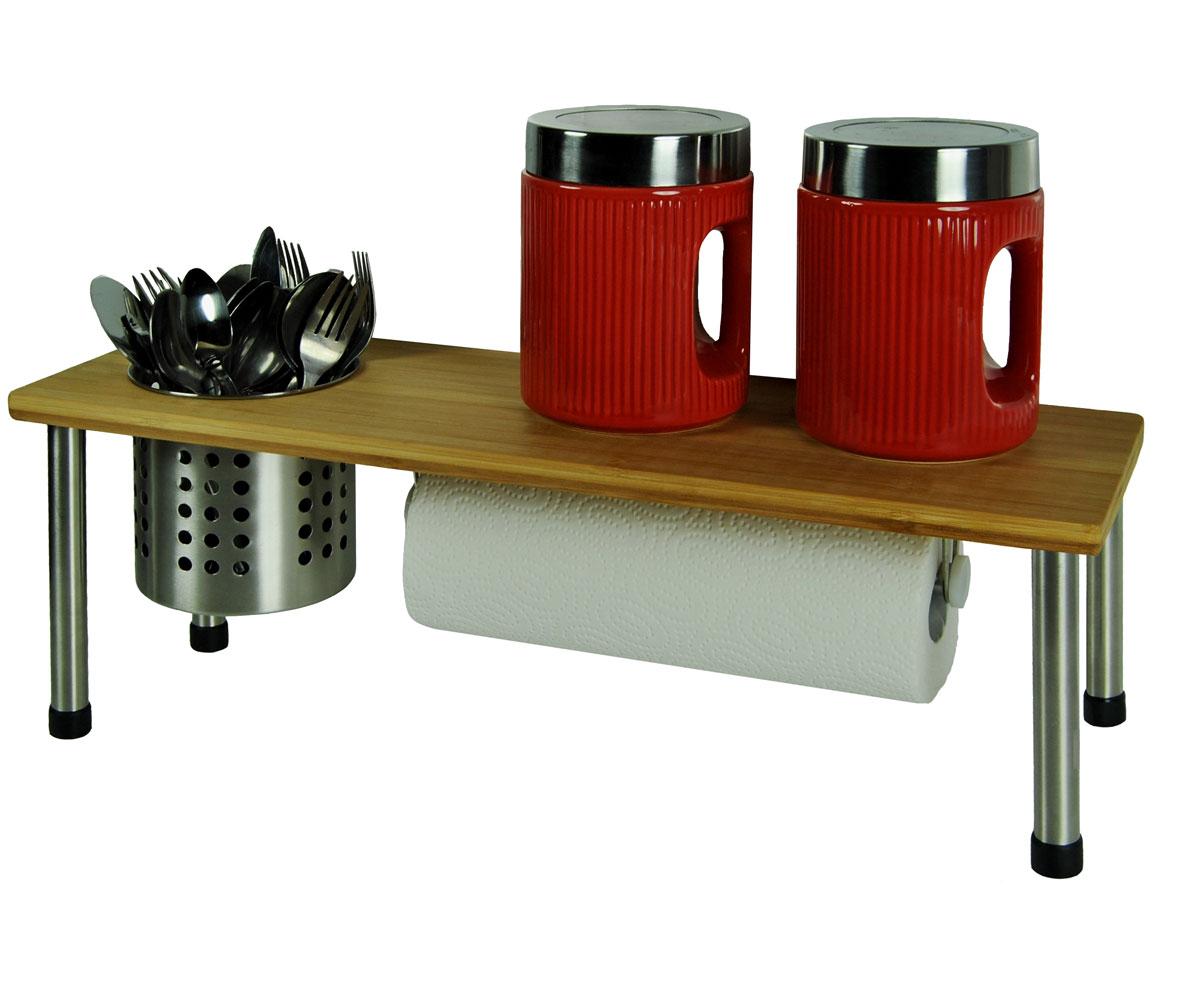 bambus edelstahl regal 55x18x20 aufbewahrungskorb k chenregal rollenhalter. Black Bedroom Furniture Sets. Home Design Ideas