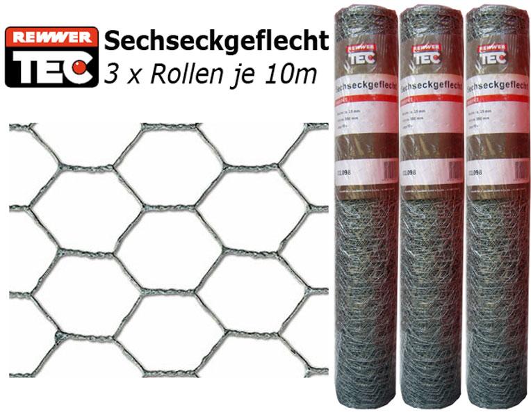 Sechseckgeflecht verzinkt 3 x 10M Rolle H 50cm Geflecht  Hasenzaun Kaninchenzau