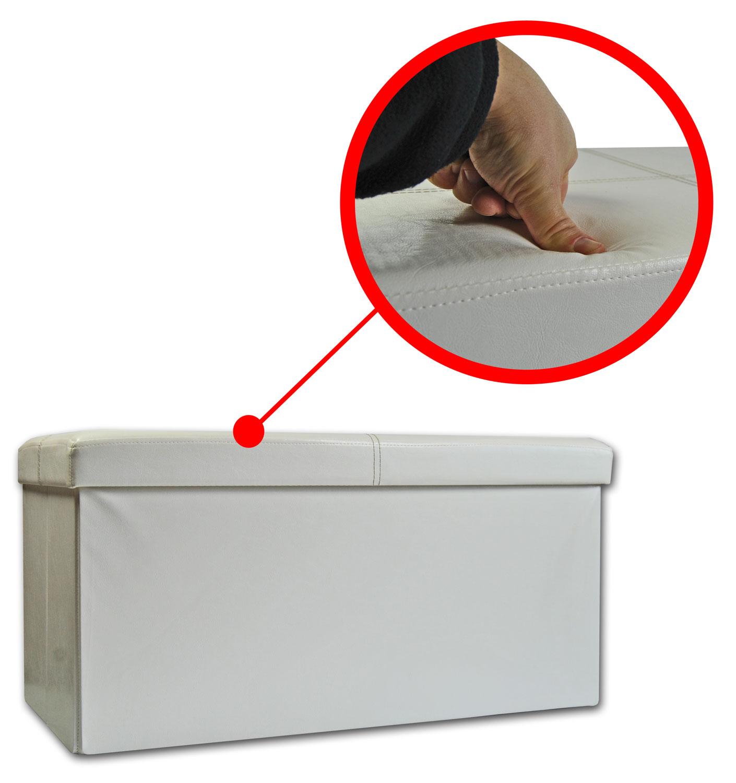 sitzhocker weis faltbar 38x76x38 ottomane hocker sitzw rfel aufbewahrungsbox ebay. Black Bedroom Furniture Sets. Home Design Ideas