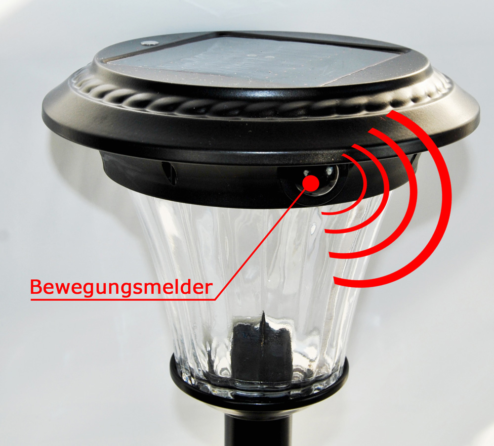 2 x led solar wegeleuchte bewegungsmelder glas metall. Black Bedroom Furniture Sets. Home Design Ideas