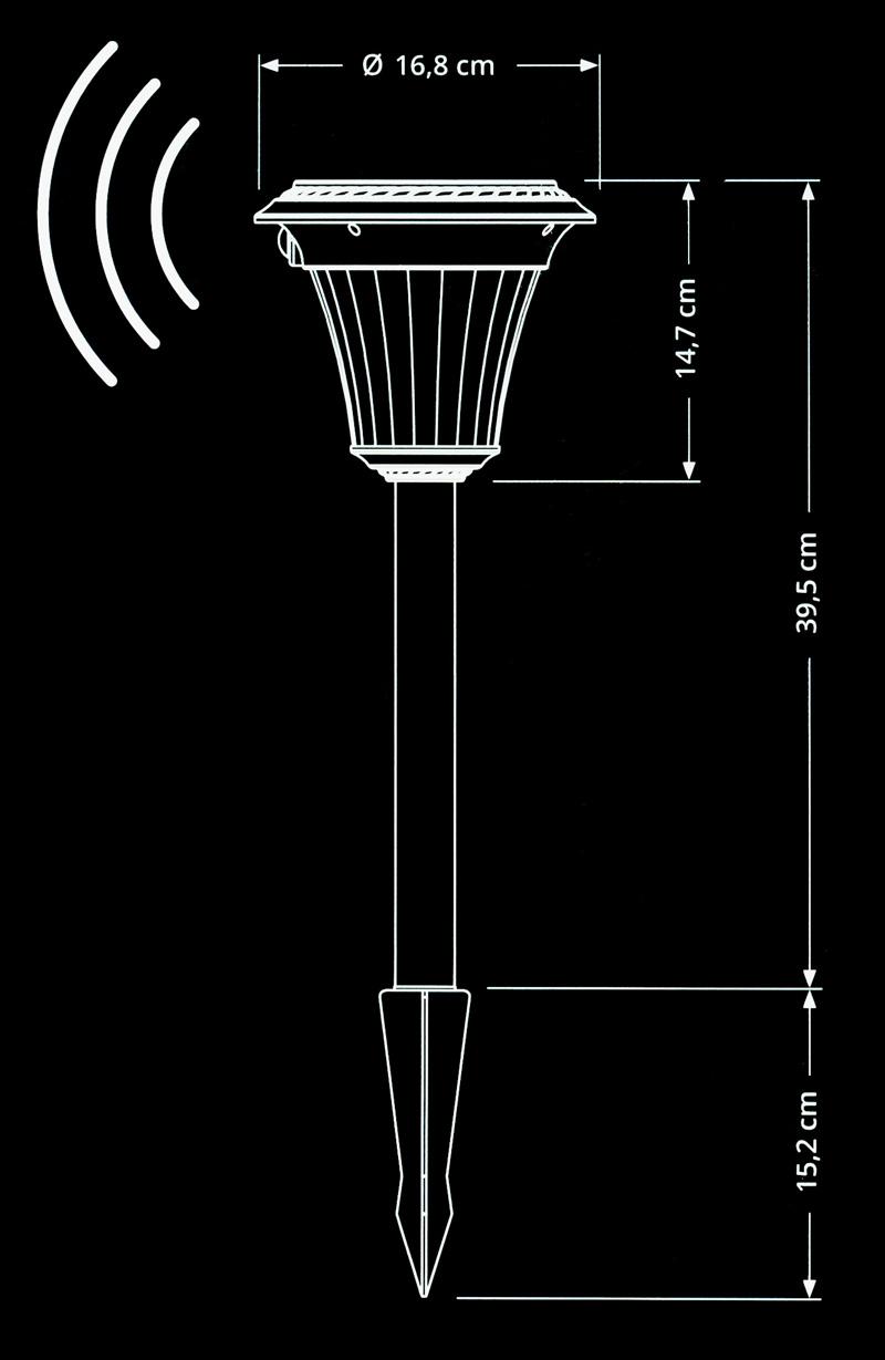 4 x solar gartenleuchte bewegungsmelder glas metall gartenlicht solarleuchte ebay. Black Bedroom Furniture Sets. Home Design Ideas