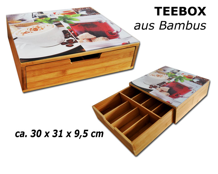 xxl teebox 30x31 bambus holz abstellfl che aus geh rtetem glas teekiste teedose ebay. Black Bedroom Furniture Sets. Home Design Ideas