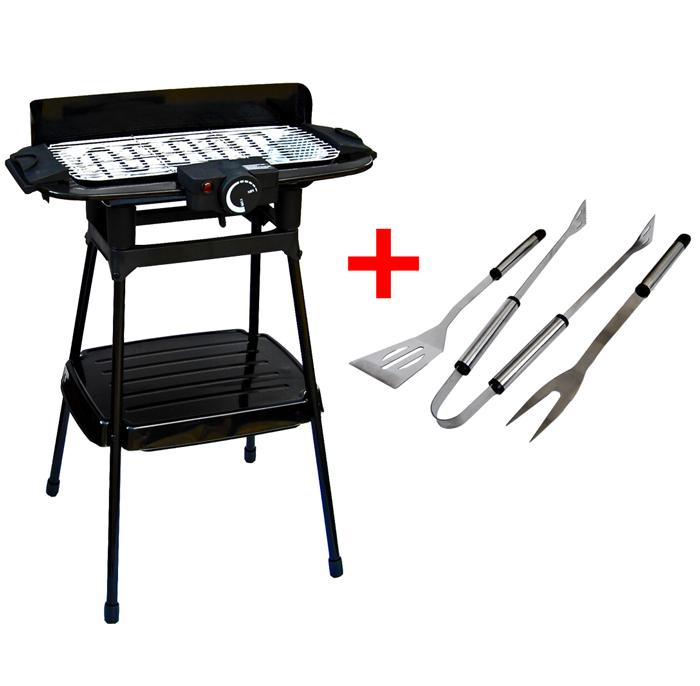 grillset elektrische tischgrill 2200w 3tlg grillbesteck. Black Bedroom Furniture Sets. Home Design Ideas