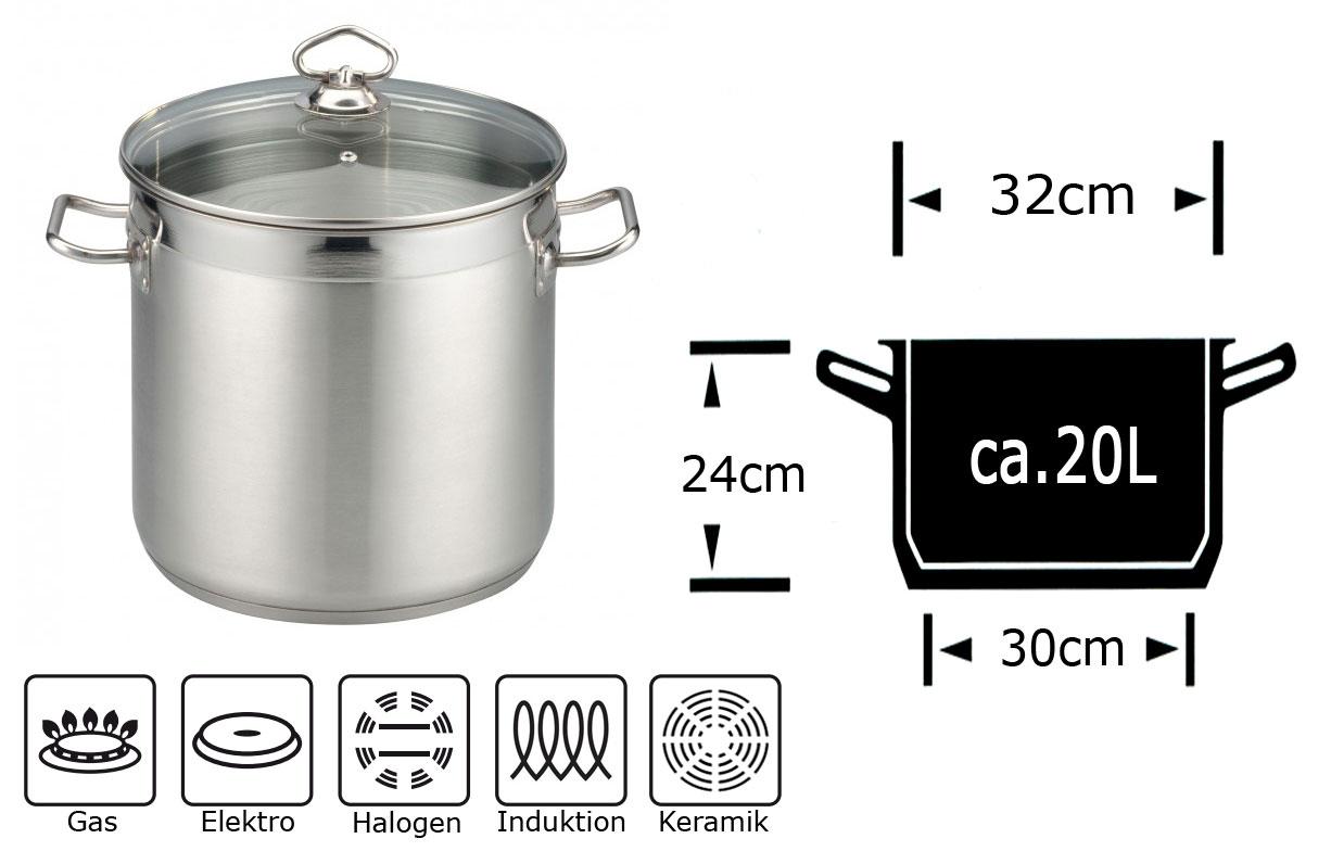 20 litre l saucepan stainless steel stock pot glass lid universal pot 20l pot ebay. Black Bedroom Furniture Sets. Home Design Ideas